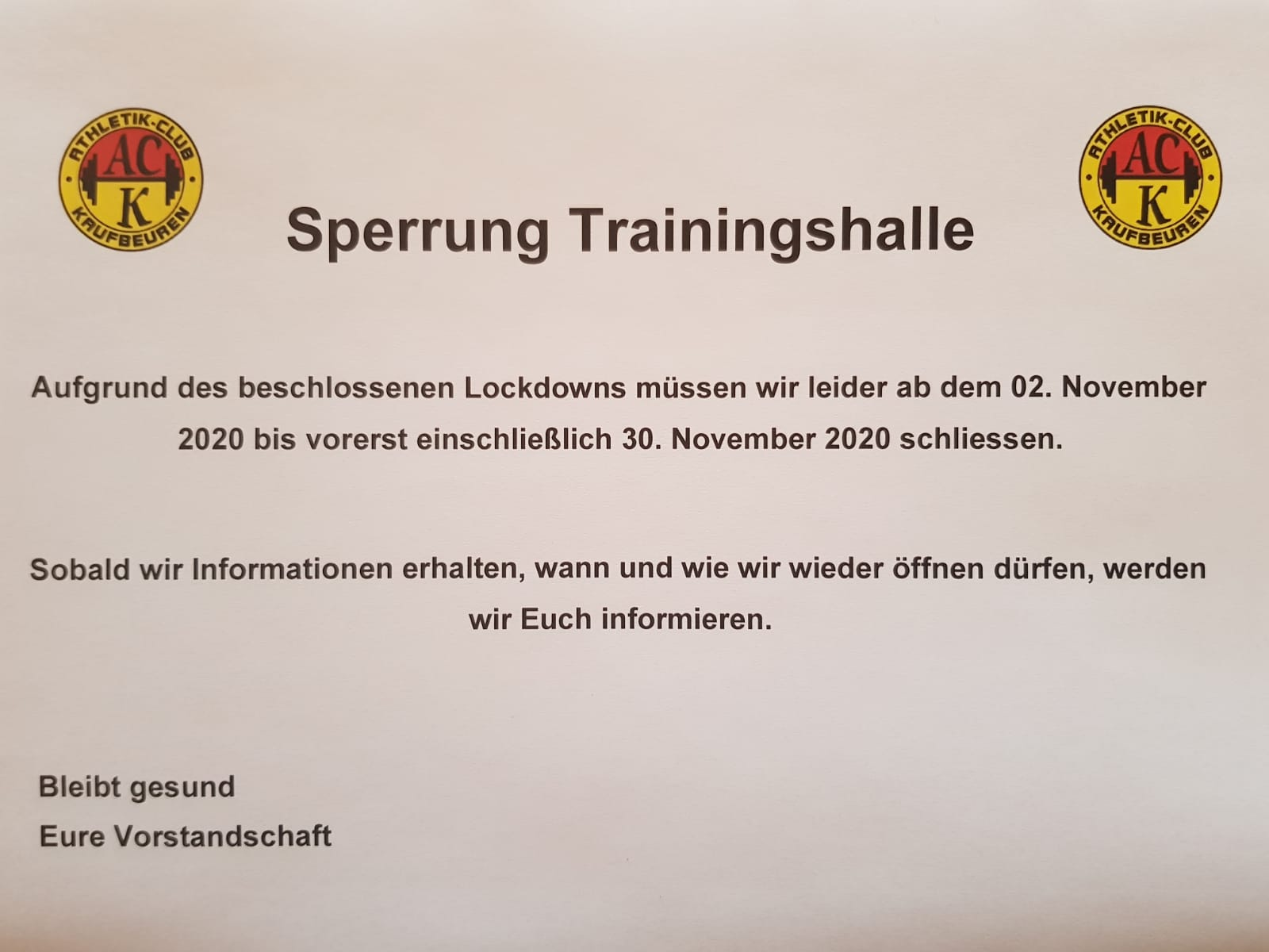 Sperrung Trainingshalle 2. Lockdown
